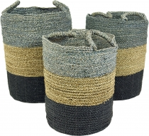 Tricolour water hyacinth storage basket in 3 sizes - grey
