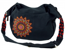 Ethno Boho shoulder bag, Goa bag Mandala - black/red