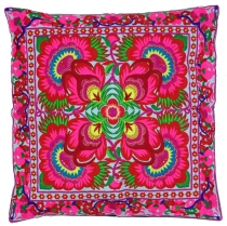 Ethno cushion cover Chiang Mai - pink/white