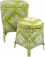 Exotic basket with lid in 2 sizes - lemon