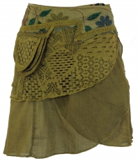 Extravagant wrap skirt with embroidery and small side pocket - ma..