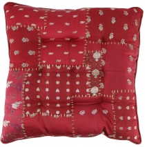 Oriental brocade quilted cushion, chair cushion 40*40 cm - wine r..