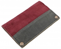 Tobacco pouch, tobacco bag, suede swivel bag - bordeaux/grey