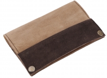 Tobacco pouch, tobacco bag, suede swivel bag - brown/beige