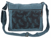 Ethno shoulder bag, Boho bag pen, Nepal bag - petrol
