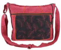 Ethno shoulder bag, Boho bag nib, Nepal bag - bordeaux red