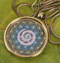 Indian amulet, talisman chain with medallion - spiral