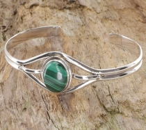 Indian bangle, silver bangle, bracelet - Malachite