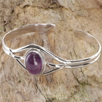 Indian bangle, silver bangle, bracelet - Amethyst