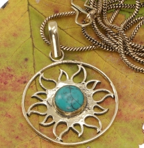 Amulet with chain, sun amulet, tribal chain - Turquoise