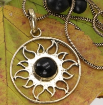 Amulet with chain, sun amulet, tribal chain - Onyx