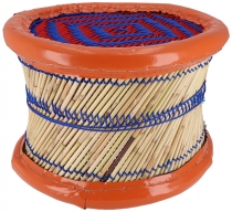 Colourful round reed basket stool in different colours - ca. 26 c..
