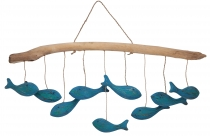wooden mobile, handmade in Indonesia - shoal of fish