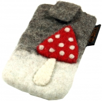 felt mobile phone pocket fly agaric