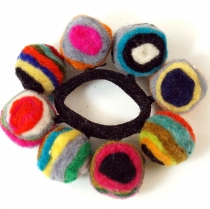 Hair tie `Felt ball`