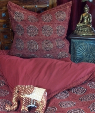 Hand-printed block print cotton bed linen