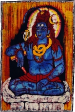 Hand painted batik picture, wall hanging, wall painting - Shiva 8..