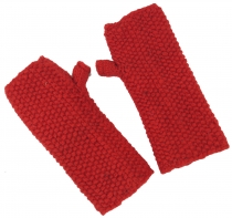 Hand cuffs, wool cuffs with pearl pattern from Nepal - red