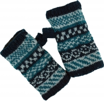 Hand warmers made of wool, Ethno Handwarmer - blue