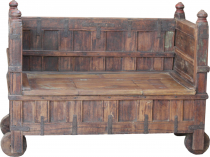 Vintage bench, hall bench, kitchen bench with decorative wheels -..
