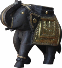 Decorative elephant carved with brass ornaments - 16cm