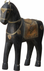 Decorative horse carved with brass ornaments - 25cm