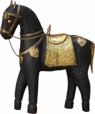 Decorative horse carved with brass ornaments - 20cm