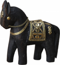 Decorative horse carved with brass ornaments - 10cm