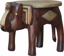 Vintage stool, elephant shaped flower bench - brown