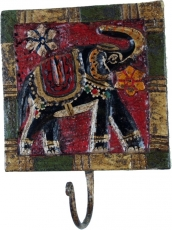 Indian wall hook elephant, vintage coat hook