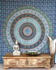 Indian Mandala cloth, wall cloth, bedspread Mandala print - blue/..