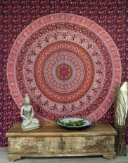Indian Mandala cloth, wall cloth, bedspread Mandala print - red