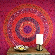 Indian mandala cloth, wall cloth, bedspread mandala print - red/p..