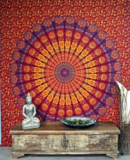 Indian mandala cloth, wall cloth, bedspread mandala print - red/o..