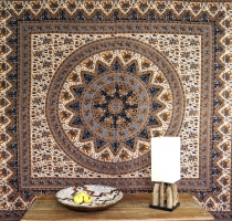 Indian mandala cloth, wall cloth, traditional bedspread - brown/g..
