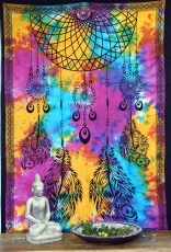 Indian wall cloth, batik bedspread - chakra dreamcatcher/rainbow