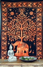 Indian wall cloth, batik bedspread - Tree of Life Elephant/orange