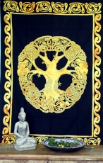 Indian wall cloth, batik bedspread - Tree of Life/golden yellow