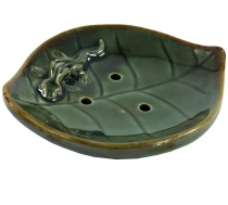 Ceramic incense plate `leaf` - model 8