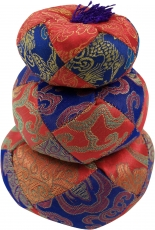 Singing bowl pillow - red/blue