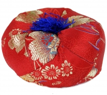 Singing bowl pillow - red/gold