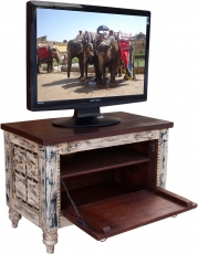 Small Plasma TV Box colonial style TV table - white