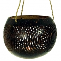 Coconut tea light for hanging