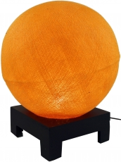 Ball table lamp with MDF stand made of cotton threads - orange