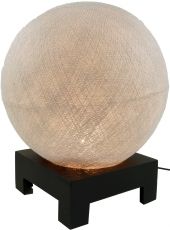 Ball table lamp with MDF stand made of cotton threads - silver-gr..