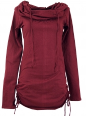 Long shirt, mini dress with wide shawl hood - bordeaux
