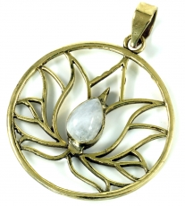 Lotus brass chain pendant with white moonstone