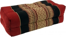 Meditation cushion, Thai neck support angular with kapok - red/bl..