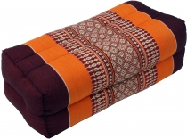 Meditation cushion, Thai neckrest square with kapok - reddish bro..