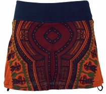 Mini skirt, Dashiki Yogarock - rust-orange